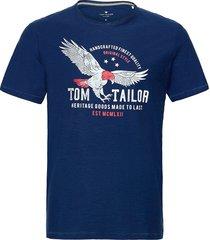 basic slub t t-shirts short-sleeved blå tom tailor