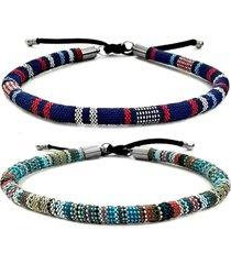 2 bracelete gafeno acessórios de corda azul