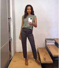 lou & grey brushed twill snap high waist pants