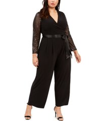 jessica howard plus size belted statement-sleeve jumpsuit