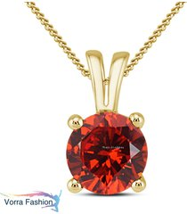 18k yellow gold plated pure 925 silver solitaire pendant with chain red garnet