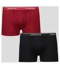 kit de 2 cuecas boxer selene cotton preta e vermel