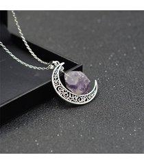 collana pendente vintage crescent moon collana con pendente a catena a forma di roccia irregolare, gioielli etnici per le donne