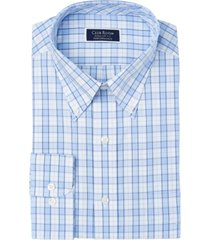 club room men's classic/regular-fit performance stretch framed gingham check dress shirt, created for macy's