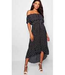 geweven maxi-jurk met print van polkastippen en boothals, zwart