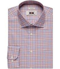 joseph abboud men's blue & rust windowpane plaid dress shirt - size: 15 32/33
