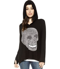 wilma metallic mini star skull oversized pullover w/ hood - xs/s jet black