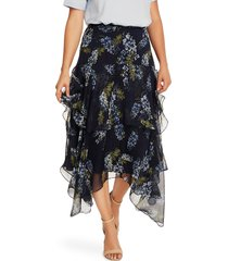 women's vince camuto weeping willow tiered asymmetrical skirt, size 10 - blue