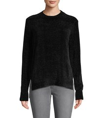 chenille long-sleeve high-low sweater