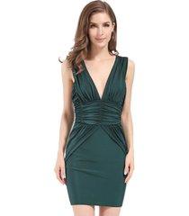 vestido drapeado verde nicopoly