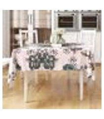 toalha de mesa floral estampada verde quadrada 1,40m x 1,40m tecido jacquard