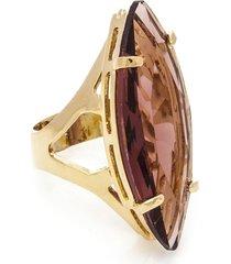 anel  navete  semijoia banho de ouro 18k cristal lilã¡s - vinho - feminino - dafiti