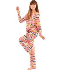 pijama thais gusmã£o longo com corda los angeles colorido - multicolorido - feminino - dafiti
