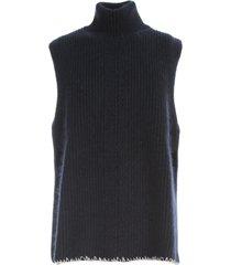 maison margiela sleeveless high neck cardigan