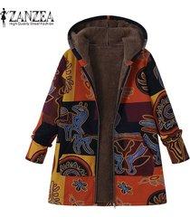 zanzea las mujeres más del tamaño chaqueta de la capa de abrigo top cremalleras parka de algodón sueltos fleece -amarillo