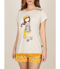 pyjama's / nachthemden admas pyjama shorts t-shirt beach belle santoro geel