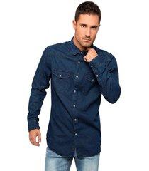 camisa denim azul soviet