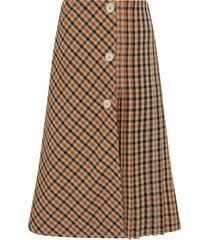 wales bonner kalimba check pleat wrap skirt, size 2-4 us in bone/cognac/chestnut at nordstrom