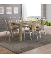 conjunto sala de jantar carraro maua mesa e 6 cadeiras - incolor - dafiti
