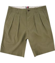 tommy hilfiger icon ivy pleat shorts - burnt olive mw0mw09644