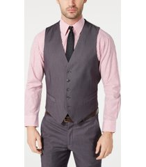 perry ellis men's portfolio slim-fit stretch gray solid suit vest