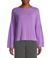 pointelle stitch knit pullover