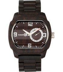 earth wood scaly wood bracelet watch w/date brown 46mm