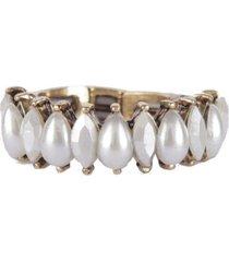 anel armazem rr bijoux mini gotas perola dourado - incolor - feminino - dafiti