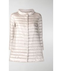 herno funnel-neck mid-length quilted jacket