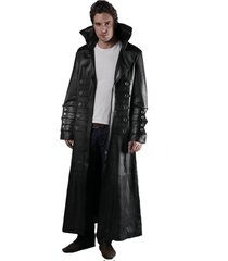 men leather coat winter long  leather coat genuine real leather trench coat-uk17