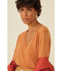 amaro feminino suéter leve gola v, laranja queimado