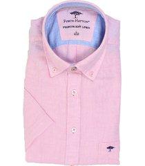 fynch-hatton fynch-hatton short sleeve linnen overhemd roze