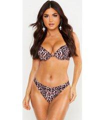 mix & match leopard print underwired bikini top, brown