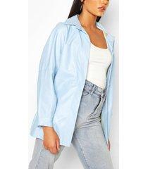faux leather utility jacket, pastel blue