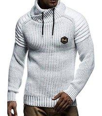 applique drawstring pullover sweater
