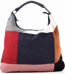 cartera patchwork lana azul mailea