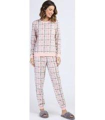 pijama de fleece feminino estampado xadrez manga longa rosa