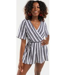 lina striped surplice romper - black/white