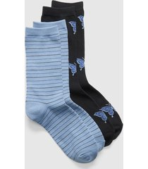 lane bryant women's 2-pack crew socks - butterflies & stripes onesz country blue