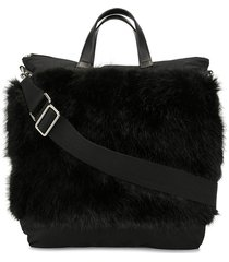 ports v faux fur panelled tote bag - black
