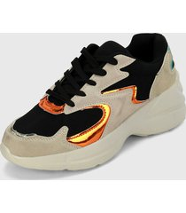 tenis lifestyle beige-negro-naranja runner athletic