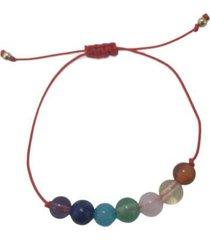 pulsera en hilo rojo cuarzo de 7 chakras