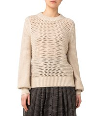 women's akris punto mesh crewneck wool blend sweater, size 10 - ivory