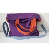 torba hobo xxl - fiolet,pomarańcz,szaroniebieski