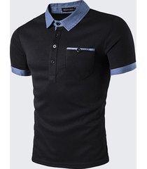 moda uomo front pocket golf camicia turndown collar manica corta primavera estate casual top