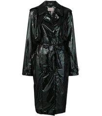 iridescent oil trench coat