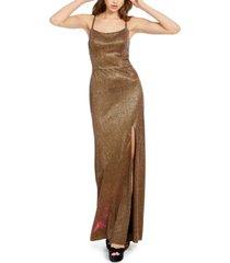 blondie nites juniors' metallic strappy-back gown