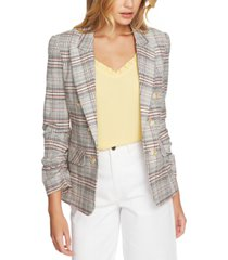 1.state ruched-sleeve plaid blazer