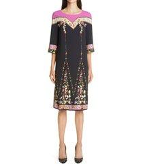 women's etro silk shift dress