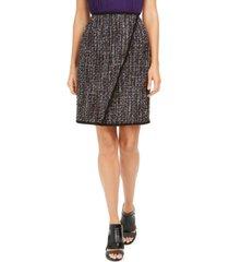 calvin klein petite tweed front-overlap skirt